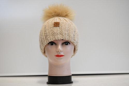 Cream 100% alpaca fibre hand knitted hat