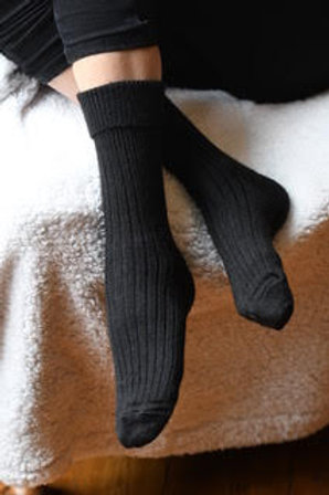Black 100% alpaca fibre hand knitted socks