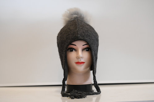 Grey 100% alpaca fibre hand knitted hat