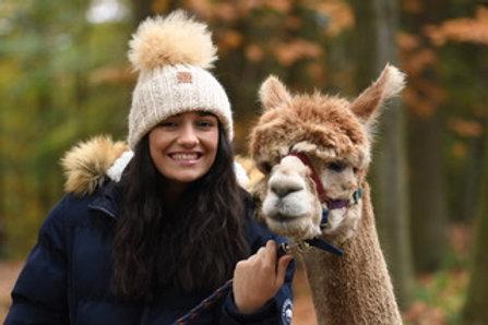 White 100% alpaca fibre hand knitted Hat