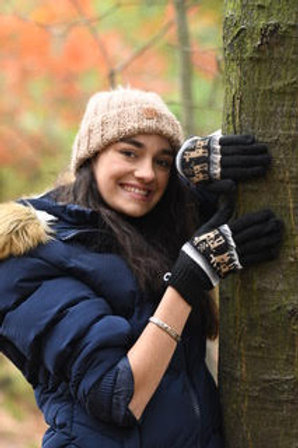 Black 100% alpaca fibre hand knitted gloves