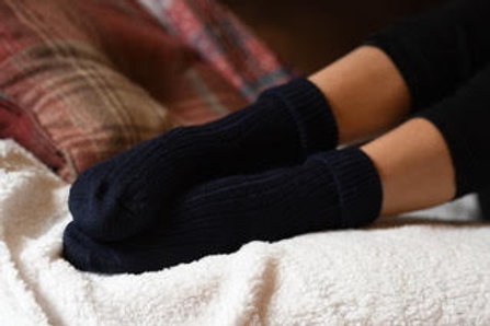 Navy 100% alpaca fibre hand knitted socks