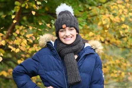 Grey 100% alpaca fibre hand knitted hat and scarf set
