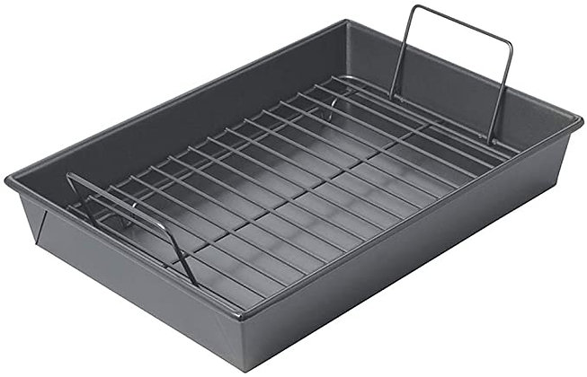 Chicago Metallic Professional Roast Pan with Non-Stick Rack, 13-Inch-by-9, Gray