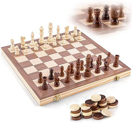 Wooden Chess Set - Handcrafted Chess Pieces - 15 Inch Chess Board - Foldable - I