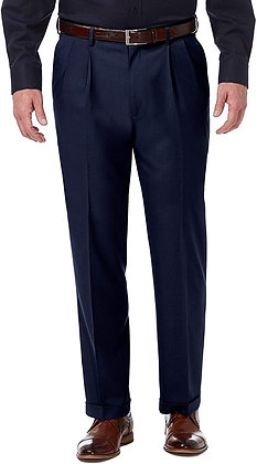Haggar Men's Premium Comfort Classic Fit Pleat Expandable Waist Pant