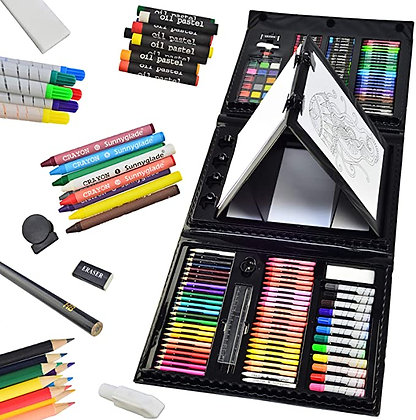 Sunnyglade 185 Pieces Double Sided Trifold Easel Art Set, Drawing Art Box with O