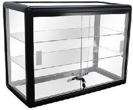 Elegant Black Aluminum Display Table Top Tempered Glass Show Case