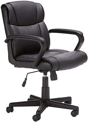 AmazonBasics Leather-Padded, Adjustable, Swivel Office Desk Chair with Armrest,