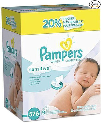 Baby Wipes, Pampers Sensitive Water Based Baby Diaper Wipes, Hypoallergenic and