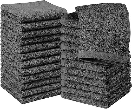 Utopia Towels Cotton Gray Washcloths Set - Pack of 24