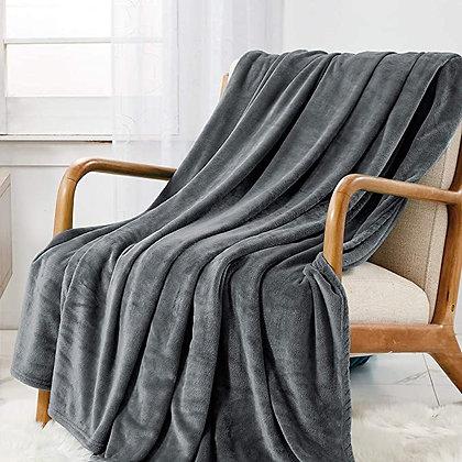CozyLux Fleece Throw Blanket Light Grey 260 GSM Lightweight Fuzzy Plush Kids Thr