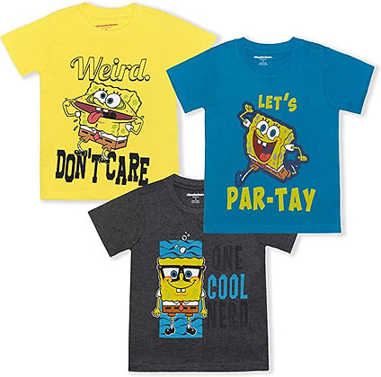Nickelodeon Spongebob Squarepants Boy's 3-Piece Short Sleeve Graphic Tee Set