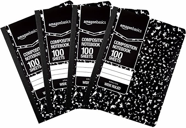AmazonBasics Wide Ruled Composition Notebook, 100 Sheets, Marble Black, 4-Pack