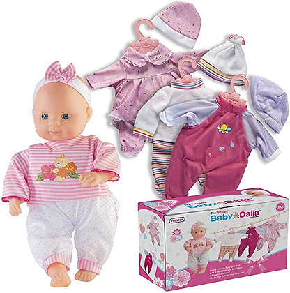 Prextex 12-Piece Baby Doll with Clothes Set