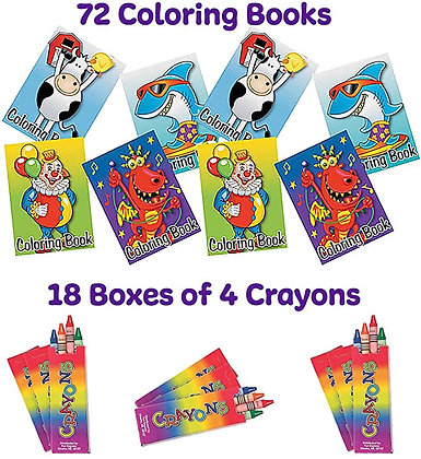 72 Coloring Books and Crayons