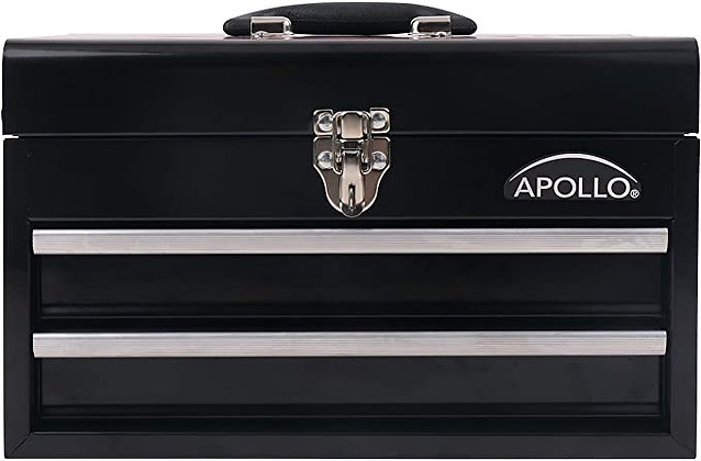 APOLLO TOOLS Black Metal Tool Box with Deep Top Compartment and 2 Drawers