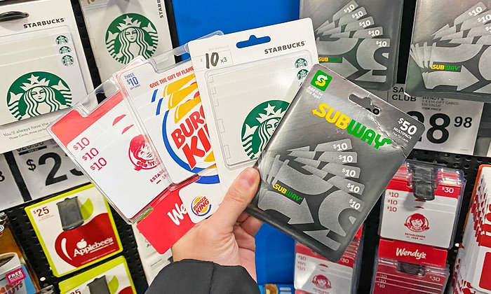 Various Fast Food Gift Cards