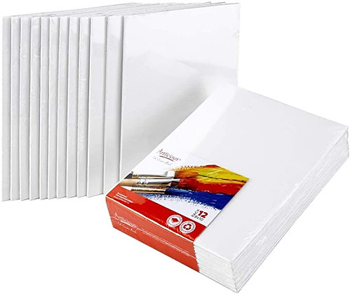 Artlicious Canvas Panels 12 Pack - 8 inch x 10 inch Super Value Pack