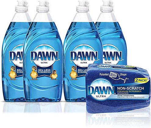 Dawn Ultra Dishwashing Liquid Dish Soap (4x19oz) + Non-Scratch Sponge (2ct)
