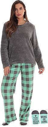 Just Love Plush Women's Pajama Pant Set with Matching Socks with Sayings