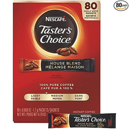 Nescafe Instant Coffee Packets, Taster's Choice Light Roast, 1.7 g Singles (Pack
