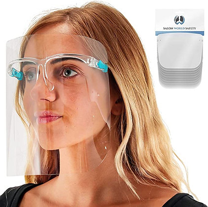 TCP Global Salon World Safety Face Shields with Glasses Frames (Pack of
