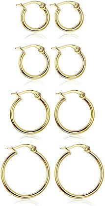LOYALLOOK Stainless Steel Rounded Small Hoop Earrings Set for Women Nickel Free