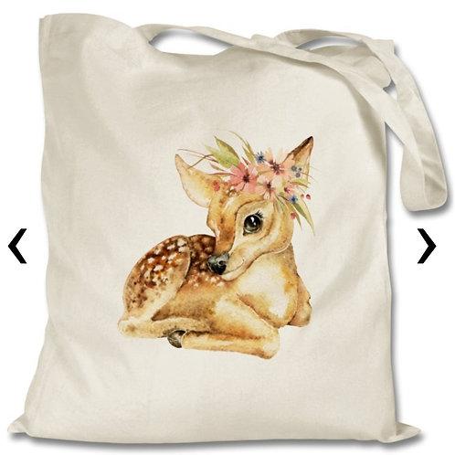 Deer with flowers_2 Themed Personalised Tote Bag