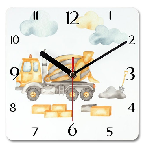Cement Mixer Themed Personalised Square Clock