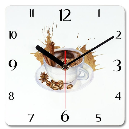 Coffee Themed Personalised Square Clock