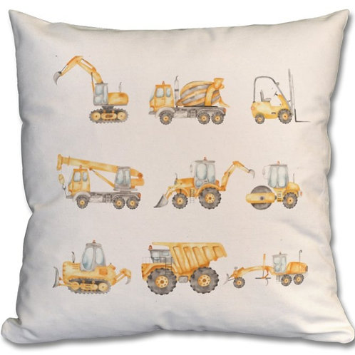 Construction Vehicles_2 Themed Personalised Cushions