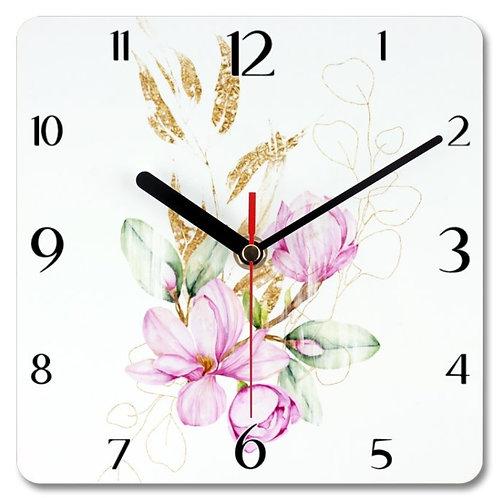 Magnolia_5 Themed Personalised Square Clock