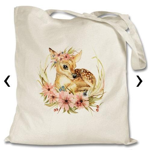 Deer with Flowers Themed Personalised Tote Bag