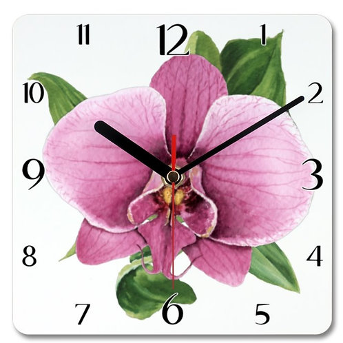 Orchid Themed Personalised Square Clock