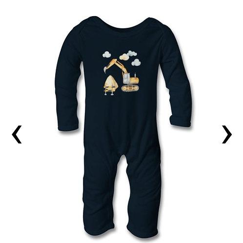Excavator Themed Personalised Baby Bodysuit