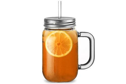 Plastic Mason Drinking Jar with lid and straw - 20oz / 568ml