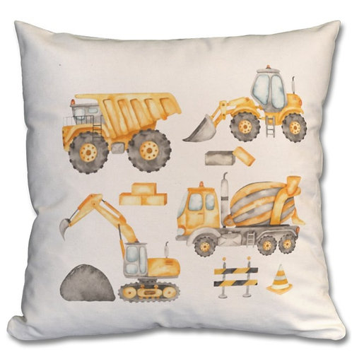 Construction Vehicles_3 Themed Personalised Cushions