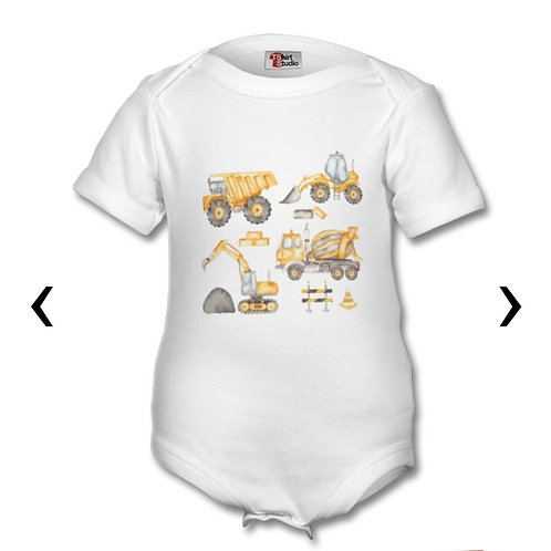 Construction Vehicles_3 Themed Personalised Baby Grows