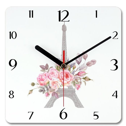 Eiffel Tower Themed Personalised Square Clock