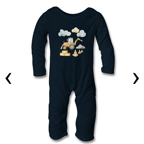 Front and Backhoe Loader Themed Personalised Baby Bodysuit