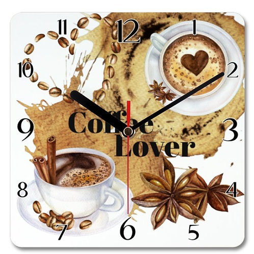 Coffee Lover Themed Personalised Square Clock