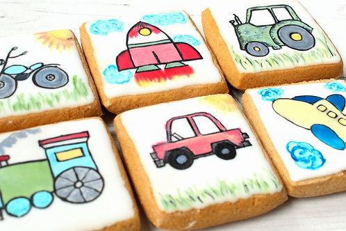 Gluten-free painted vehicles Gingerbread Biscuits