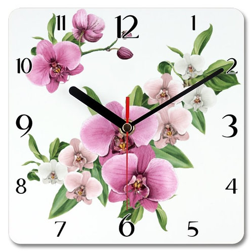 Orchids Themed Personalised Square Clock