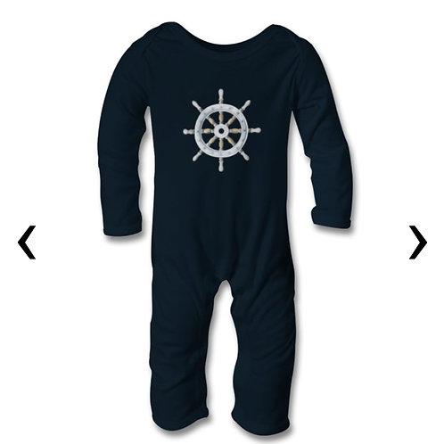 Sailboat Steering Wheel Themed Personalised Baby Bodysuit