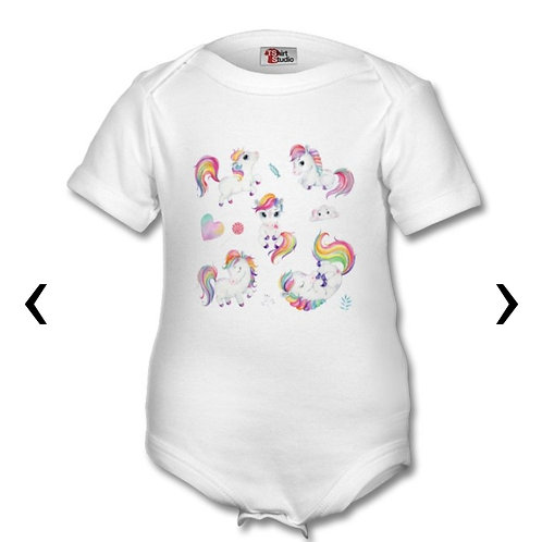 Ponies Themed Personalised Baby Grows