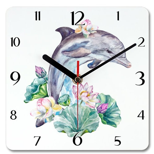 Dolphin Themed Personalised Square Clock