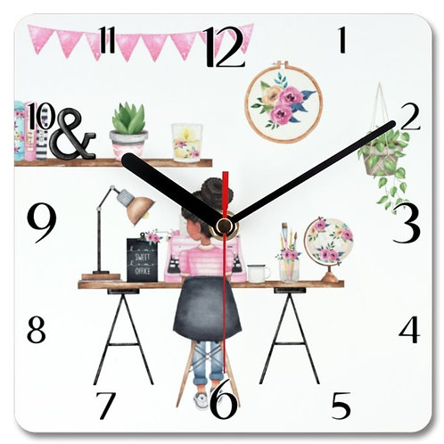Office Girl_1 Themed Personalised Square Clock