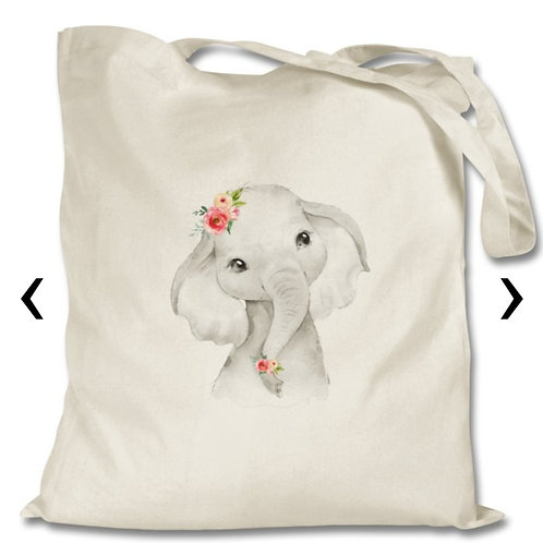 Cute Elephant Themed Personalised Tote Bag
