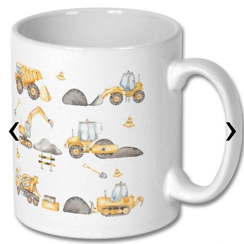 Construction Vehicles Themed Personalised Mug